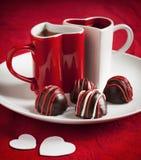 Hand - gemaakte Chocoladetruffel voor Valentine Day Royalty-vrije Stock Foto's