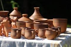 Hand - gemaakte kleipotten royalty-vrije stock afbeelding