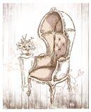 Hand - gemaakte schets van comfortabele binnenlandse elementen Stock Foto's