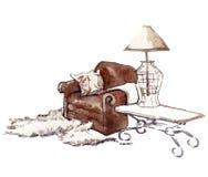 Hand - gemaakte schets van comfortabele binnenlandse elementen Royalty-vrije Stock Foto's