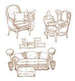 Hand - gemaakte schets van comfortabele binnenlandse elementen Stock Afbeelding