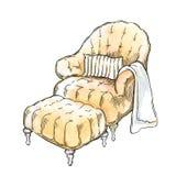 Hand - gemaakte schets van comfortabele binnenlandse elementen Stock Fotografie