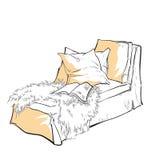 Hand - gemaakte schets van comfortabele binnenlandse elementen Stock Afbeeldingen