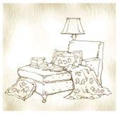Hand - gemaakte schets van comfortabele binnenlandse elementen Stock Foto