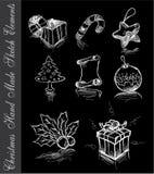 Hand - gemaakte Schets van de elementen van Kerstmis Royalty-vrije Stock Fotografie