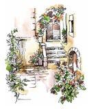 Hand - gemaakte schets van oude straat Royalty-vrije Stock Foto's