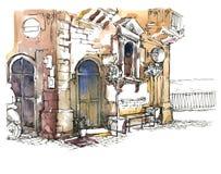 Hand - gemaakte schets van oude straat Royalty-vrije Stock Afbeelding