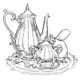 Hand - gemaakte schets van theestellen Vector illustratie Royalty-vrije Stock Afbeelding