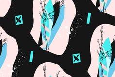 Hand - gemaakte vector abstracte geweven in creatieve collage naadloos patroon in tiffany blauwe die kleuren op wit worden geïsol stock illustratie