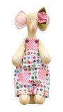 Hand - gemaakte zachte stuk speelgoed olifant die in een jumpsuit wordt geïsoleerd Royalty-vrije Stock Foto