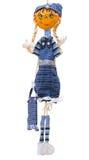 Hand - gemaakte zachte stuk speelgoed pop die op purpere backgro wordt geïsoleerd Royalty-vrije Stock Afbeeldingen