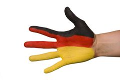 A hand with germany colors Royalty Free Stock Images
