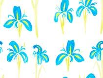 Hand geschilderd met het naadloze patroon van de waterverfborstel met blauw Stock Foto's