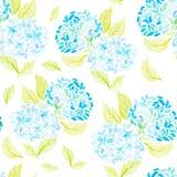 Hand geschilderd met het naadloze patroon van de waterverfborstel met blauw Royalty-vrije Stock Afbeeldingen