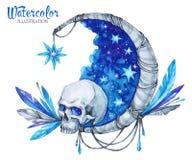 Hand geschilderd mysticusembleem met schedel, maan, sterren en veren De nacht van Halloween ` s vector illustratie