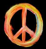 Hand geschilderd vredesteken op zwarte Royalty-vrije Stock Afbeeldingen