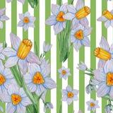 Hand geschilderd waterverf naadloos patroon van de lentebloemen vector illustratie