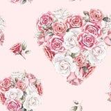 Hand geschilderd waterverf naadloos patroon van rozen stock illustratie