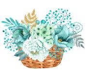 Hand geschilderd waterverfboeket met bloemen van munt de gouden pioenen stock illustratie