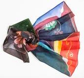Hand geschilderde batikzijde headscarf op wit Royalty-vrije Stock Afbeelding