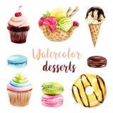 Hand geschilderde desserts royalty-vrije illustratie