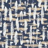 Hand Geschilderde Grunge-Borstelslagen op Blauw Abstract Vector Naadloos Patroon Als achtergrond Creatieve Manifesttekens stock illustratie