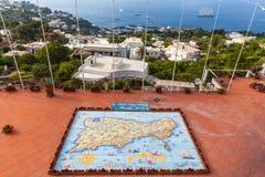 Hand geschilderde kaart van Capri-Eiland Stock Afbeeldingen