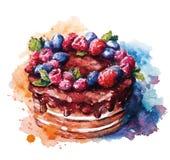 Hand geschilderde waterverfcake Vector illustratie Stock Afbeeldingen