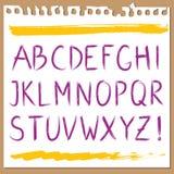 Hand geschreven alfabet Stock Foto's