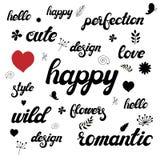 Hand geschreven het van letters voorzien reeks met leuke bloemenkrabbels royalty-vrije illustratie