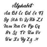 Hand geschreven kalligrafiealfabet in kleine letters en in hoofdletters Royalty-vrije Stock Afbeelding