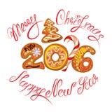 Hand geschreven kalligrafische tekst Vrolijke Kerstmis Stock Foto's