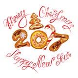 Hand geschreven kalligrafische tekst Vrolijke Kerstmis en Gelukkig Nieuwjaar Stock Afbeeldingen