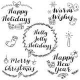 Hand geschreven Kerstmis en Nieuwjaarwensen vector illustratie