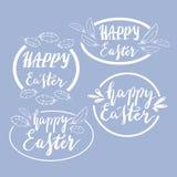 Hand geschriebene glückliche Ostern-Phrasen Grußkarten-Textschablonen mit Gestaltungselementen Lizenzfreie Stockfotografie