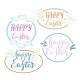 Hand geschriebene glückliche Ostern-Phrasen Grußkarten-Textschablonen mit Gestaltungselementen Stockfotos
