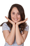 Hand gesture. Happy woman wIth hand gesture Royalty Free Stock Images