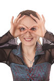 Hand gesture. Happy woman wIth hand gesture Royalty Free Stock Photography