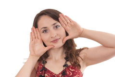 Hand gesture. Happy woman wIth hand gesture Stock Photo