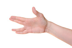 Hand gesture. Isolated on white background Royalty Free Stock Photography