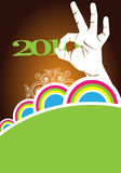 Hand Gesture, 2010. A template with a hand gesturing the ZERO in the new year 2010 stock illustration