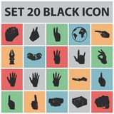 Hand gesture black icons in set collection for design. Palm and finger vector symbol stock web illustration. Hand gesture black icons in set collection for Stock Images