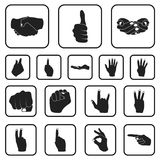 Hand gesture black icons in set collection for design. Palm and finger vector symbol stock web illustration. Hand gesture black icons in set collection for Royalty Free Stock Images