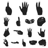 Hand gesture black icons in set collection for design. Palm and finger vector symbol stock web illustration. Hand gesture black icons in set collection for Royalty Free Stock Photography