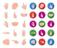 Hand gesture cartoon,flat icons in set collection for design. Palm and finger vector symbol stock web illustration. stock illustration