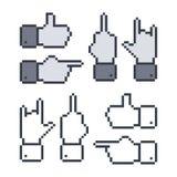Hand gesture cartoon pixel Royalty Free Stock Image