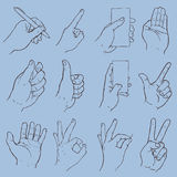 Hand gesture collection. Holding mobile ohine and pen Stock Photos
