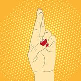 Hand gesture, crossed fingers against the background of pop art. vector illustration