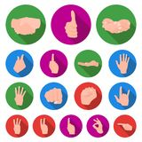 Hand gesture flat icons in set collection for design. Palm and finger vector symbol stock web illustration. Hand gesture flat icons in set collection for design Royalty Free Stock Photography