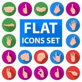 Hand gesture flat icons in set collection for design. Palm and finger vector symbol stock web illustration. Hand gesture flat icons in set collection for design Royalty Free Stock Photo